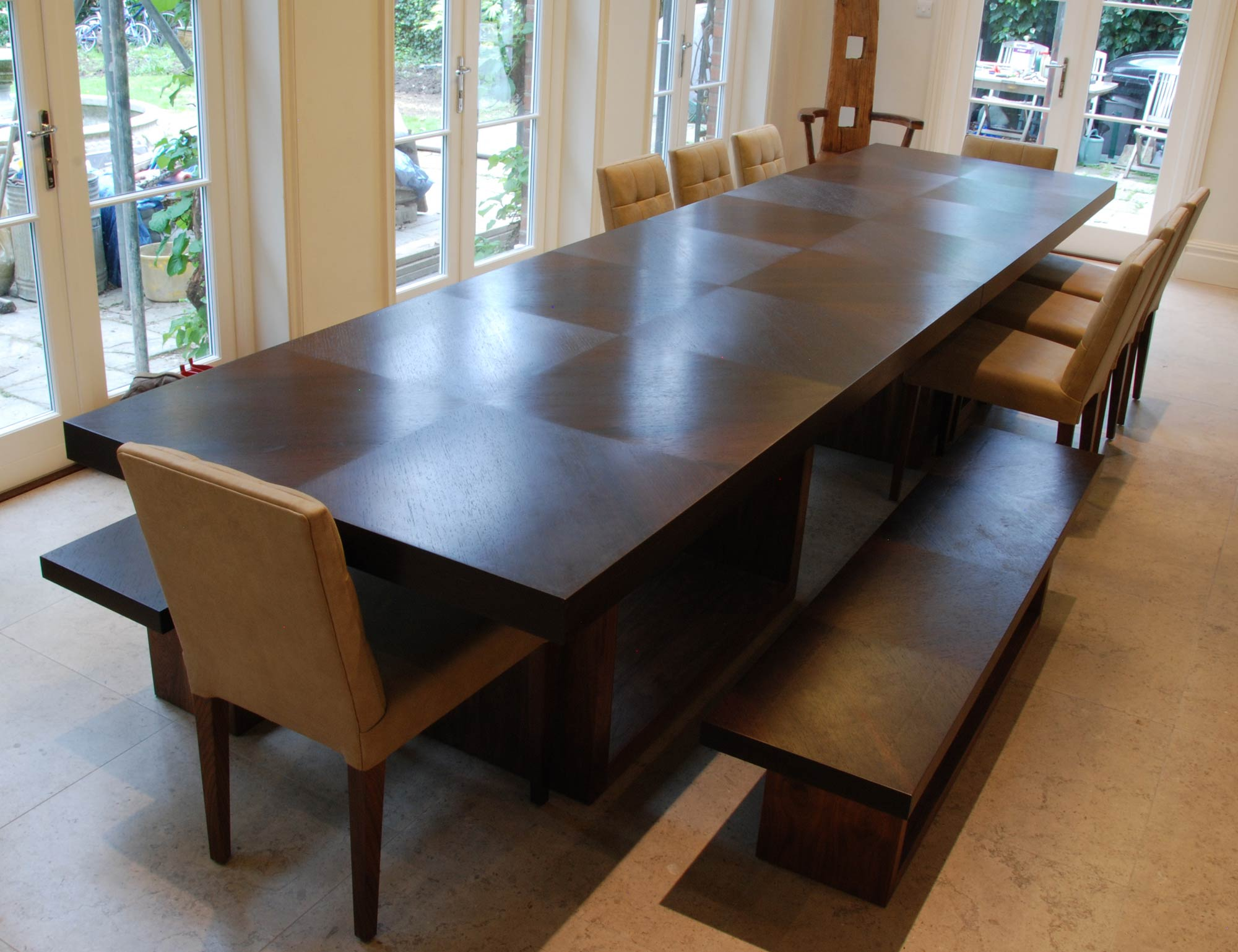 dining table in wenge  walnut  makers' eye. details