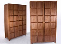 Wardrobe with secret compartment in walnut