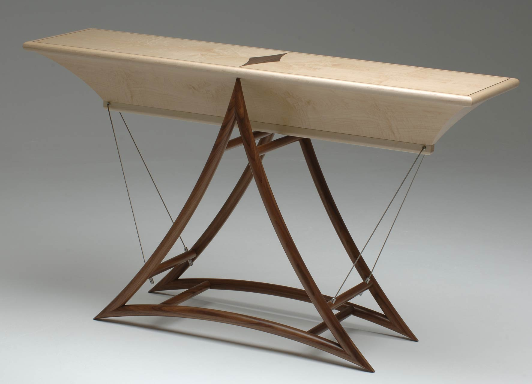 Console Table In Walnut Amp Maple Fulcrum Makers Eye