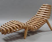 Bespoke lounger in Oak or Birch ply & stainless steel
