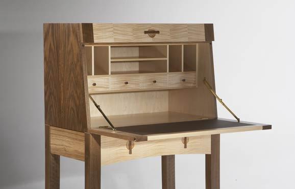 Writing bureau in walnut & maple | Makers\' Eye