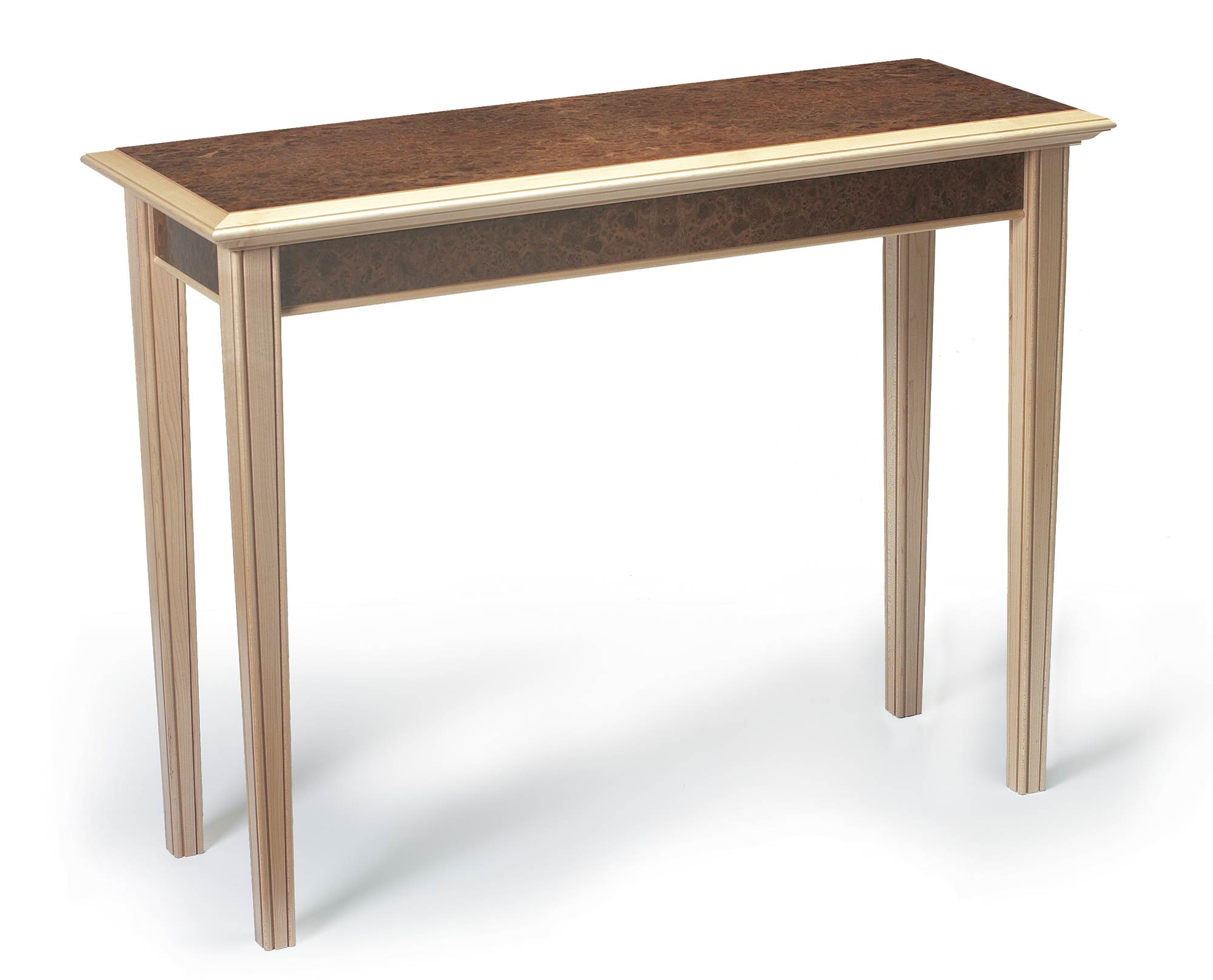 Console table in maple burr elm makers eye details geotapseo Image collections