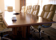 Boardroom Table in burr walnut and ebony