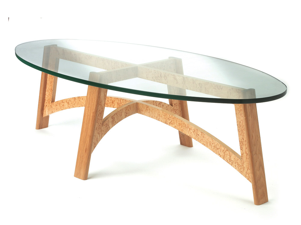 Bespoke coffee table in oak and masur birch makers 39 eye Bespoke glass furniture