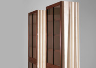 Tall glazed cabinets in Cuban mahogany