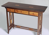 Side Table in walnut and yew