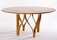 circular dining table in oak