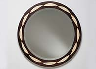 Wall hanging mirror in rosewood & sycamore