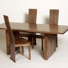 Dining table, chairs & sideboard in walnut