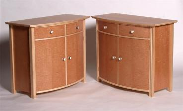 Bow fronted cabinet in maple & sycamore