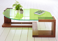 Low table with glass top. 'Lime Tree'